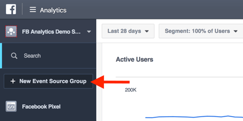 Create event source groups from your Facebook Analytics dashboard.