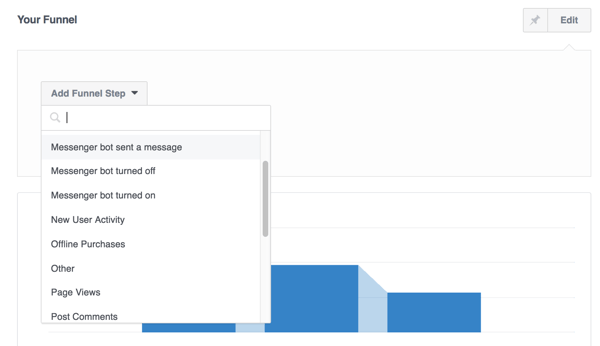 Add steps to your funnel in Facebook Analytics.