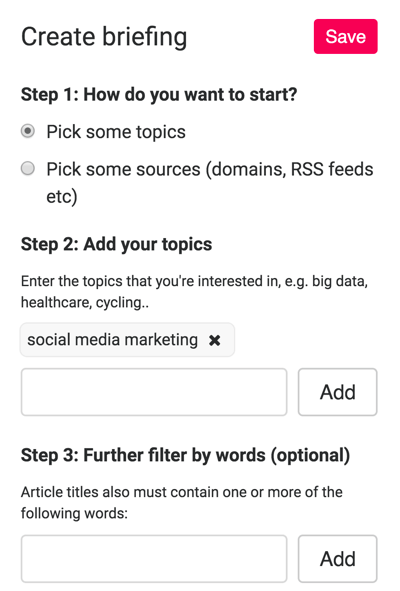 To set up a briefing, choose topics you're interested in.