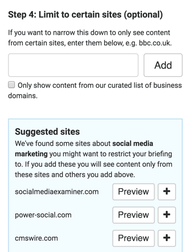You can exclude certain words or sites from your briefing.