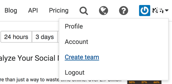 Click your profile name and select Create Team.