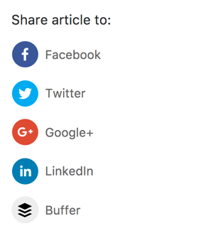 Choose the network to which you want to share the article.
