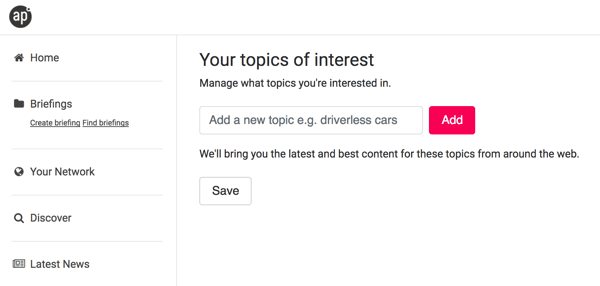 After you sign up with Anders Pink, choose some topics of interest.