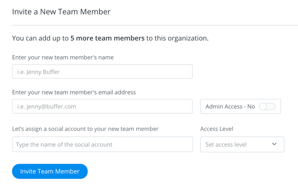 Fill out the invite details for the person you want to add to your Buffer team.