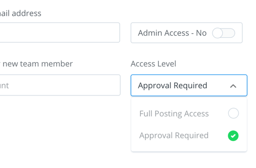 Choose an access level for the person you're adding to your team.