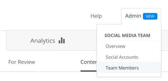 Choose Admin > Team Members to set up a team in your Buffer for Business account.