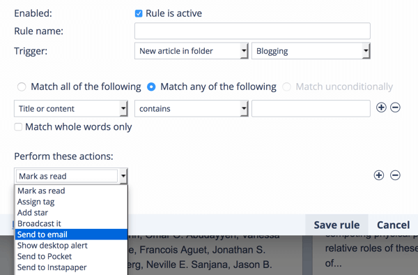Set up your rule in Inoreader.