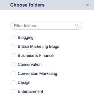 When you follow a feed, you can save it to a folder.