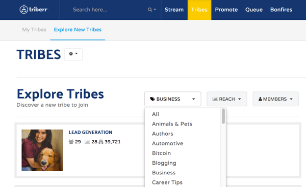 Go to the Tribes tab to search for tribes to join on Triberr.
