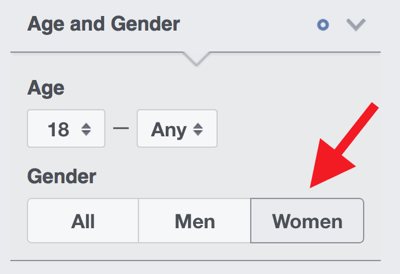 If your audience is almost entirely women, select Women under Age and Gender.