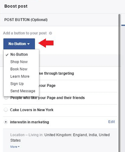 Fill in the relevant details for boosting your post.