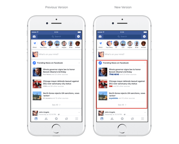 Facebook now features publisher logos in Trending section and search.