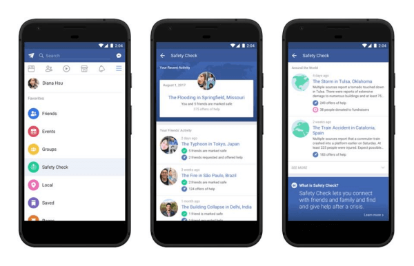 Facebook will soon offer a dedicated Safety Check, where users can see where it has recently been activated, get the information you need, and potentially be able to help affected areas.