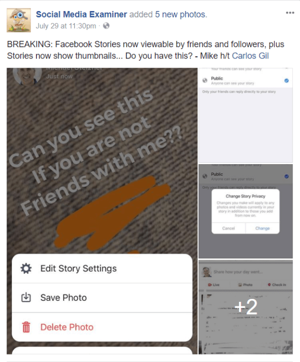 Facebook rolls out public sharing and thumbnail images for Stories.