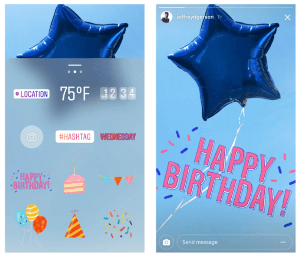 Instagram celebrates one year of Instagram Stories with new birthday and celebrations stickers.
