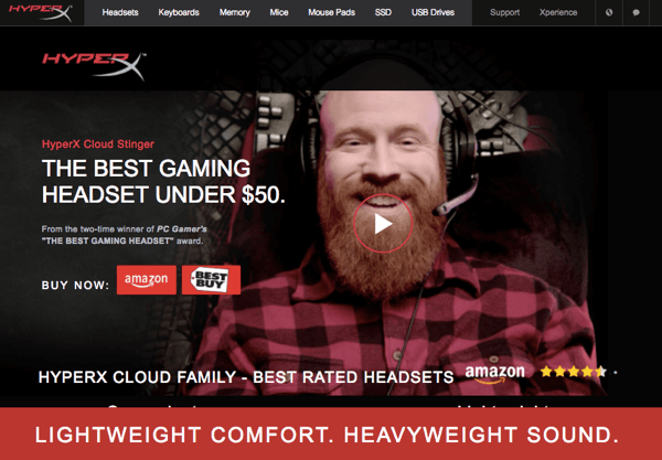 The landing page for Hyperx tells people how much the product costs, what the benefits are, and why they should purchase it.