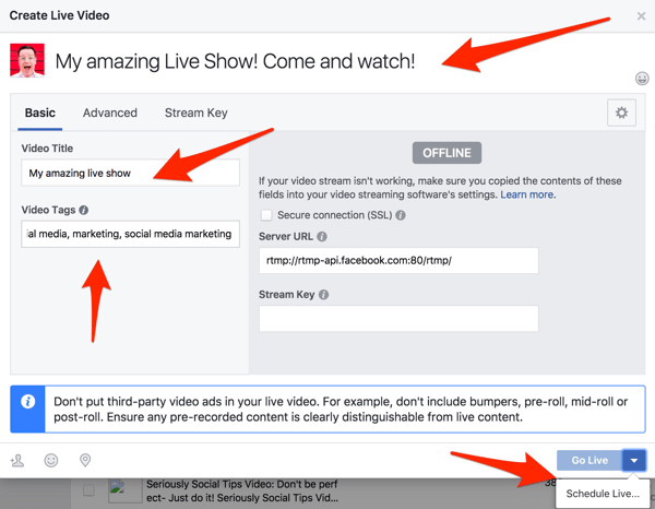 Add a title and tags for your Facebook Live broadcast.