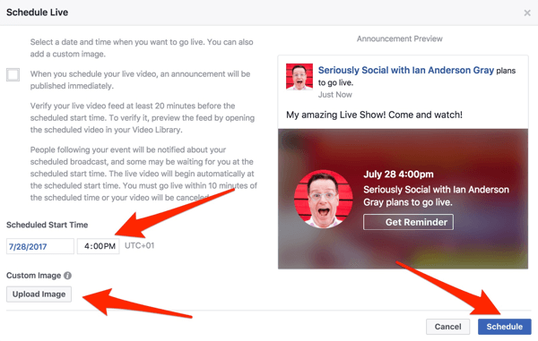 Enter a start time to schedule your Facebook Live show.