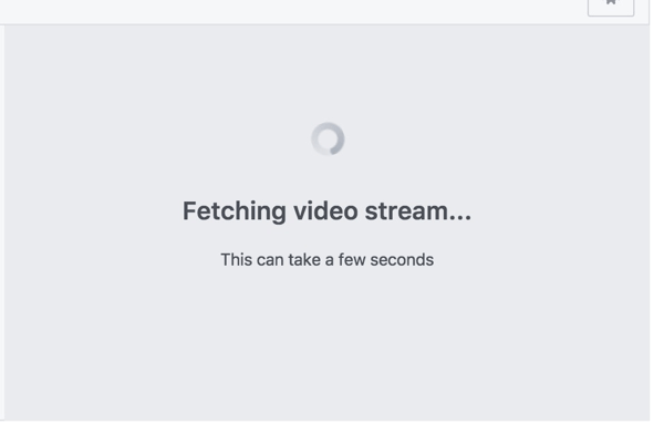 Facebook shows this screen while it's receiving your broadcast from Wirecast.