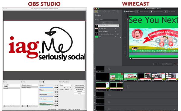 OBS Studio and Wirecast both let you broadcast a Facebook Live show.