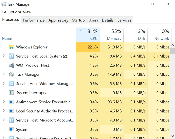 Use Task Manager to check which apps are running on your PC.