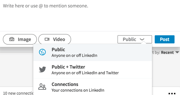 To make a LinkedIn post visible to anyone, select Public from the drop-down list.