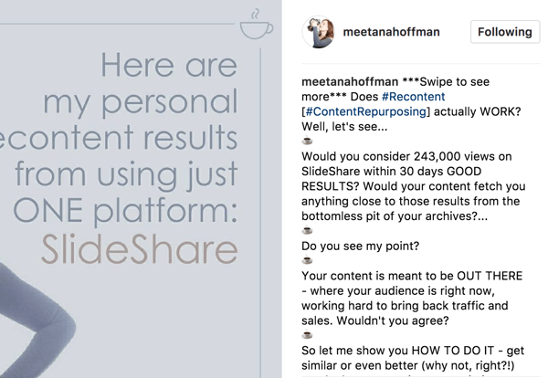 In the caption for your Instagram album, include a statement to swipe to see more so your audience doesn't miss out.