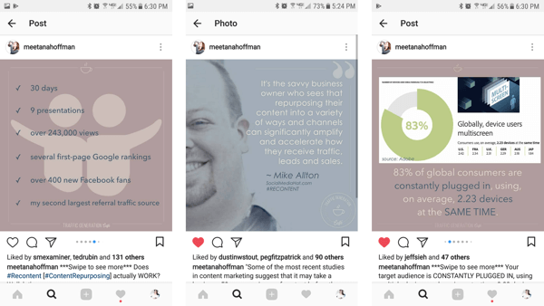 Repurpose images from your original blog post to use in Instagram albums.