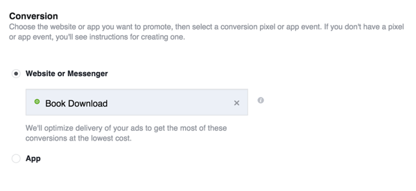 When you create your Facebook ad, select the Conversion objective and choose the custom conversion you just created.