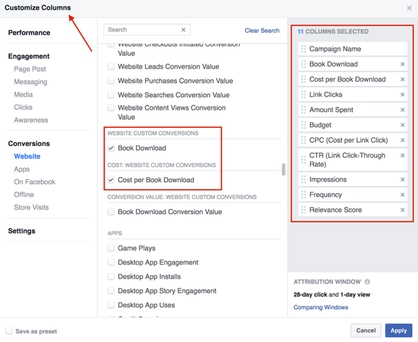 Select the columns you want to add to your Facebook ad results table.