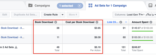 Review your cost per lead and then adjust your Facebook ad budget to reach your revenue goal.