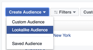 In the Ads Manager, select Lookalike Audience from the Create Audience drop-down menu.