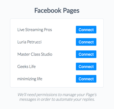 Connect your Facebook page to ManyChat.
