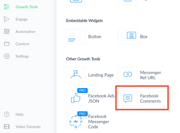 Choose the Facebook Comments growth tool.