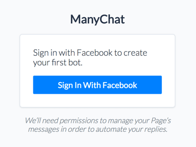 Sign into ManyChat with your Facebook account.
