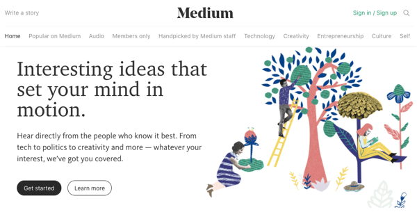 Medium has a built-in audience to help jumpstart your positioning.