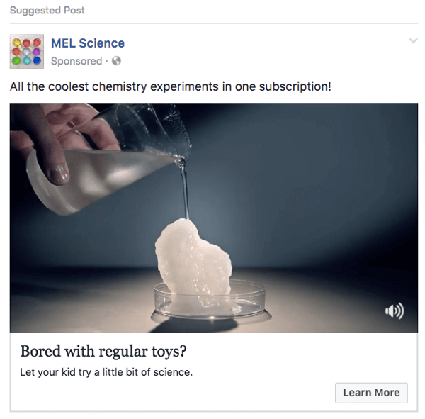 This MEL Science Facebook ad uses clips from a YouTube video.