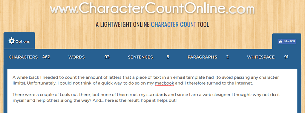 Use CharacterCountOnline.com to count characters, words, paragraphs, and more.