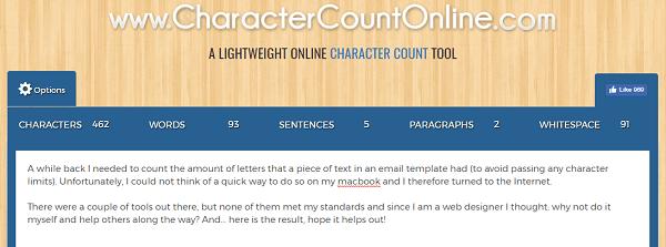 Use CharacterCountOnline.com para contar caracteres, palabras, párrafos y más.