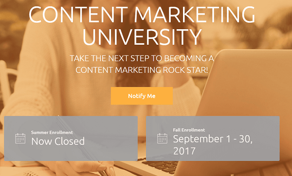 CMI's subscription-based training program is Content Marketing University.