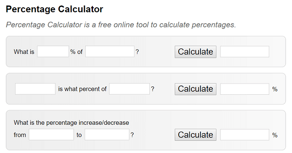 The Percentage Calculator makes reporting easier for sociall media marketers.