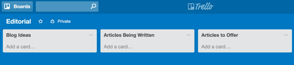 Create Trello lists that match up with your blog workflow.
