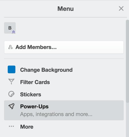 Select Power-Ups from the drop-down menu.