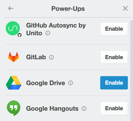Enable the Google Drive power-up to attach content from a Google Doc right onto the card.