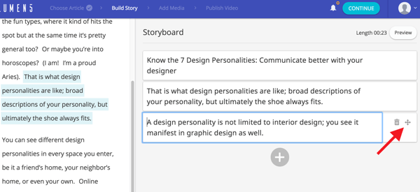 Click and drag the cross icon to change the order of a box on your storyboard.
