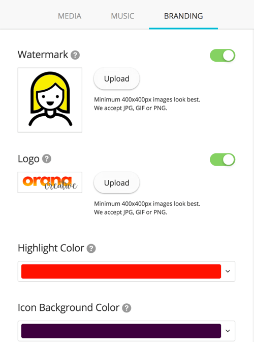 You can upload a logo and watermark to add to your video and change the highlight and icon background colors.