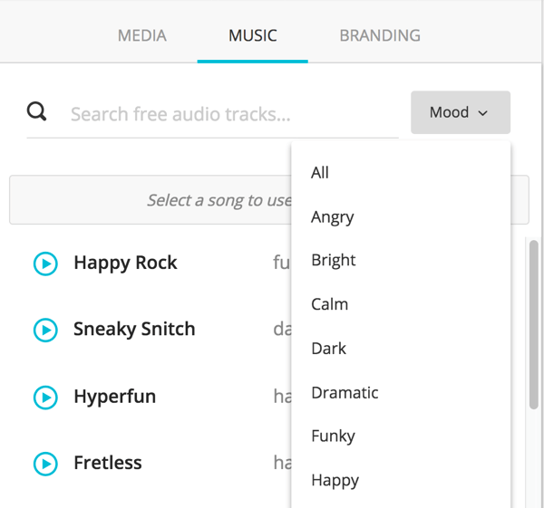 Select the type of music you want to add from the Mood drop-down list.