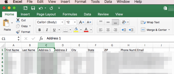 Prepare your mailing data in a CSV file with column headers.