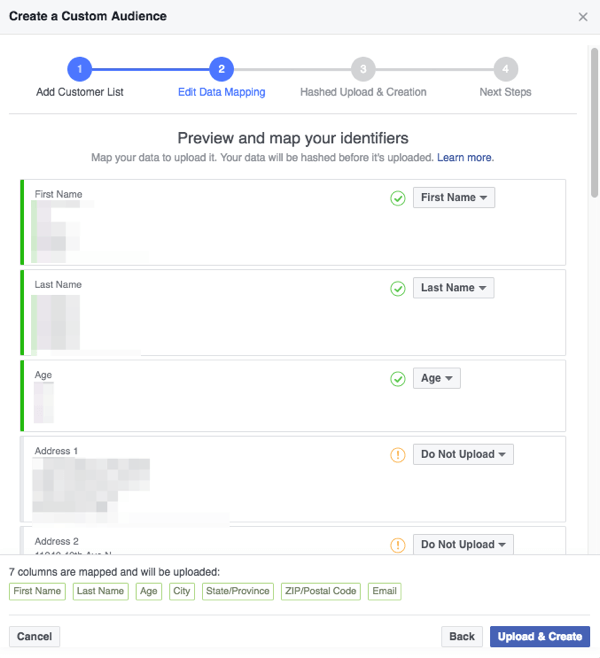Make sure the fields Facebook detects in your CSV file are correctly mapped to categories that Facebook understands.