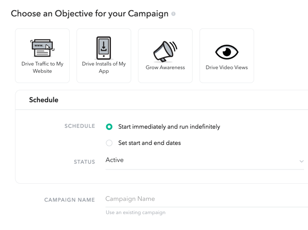 Choose a campaign objective and schedule.